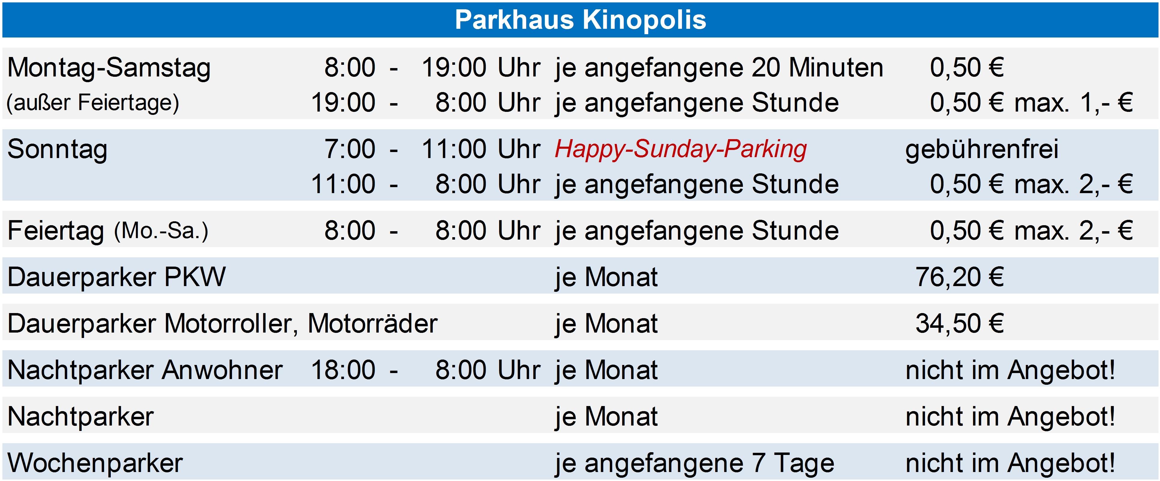 Preise PH Kinopolis ab 01.09.2018